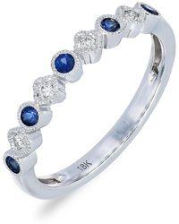 Bony Levy - 18k White Gold Diamond & Sapphire Ring - 0.04 Ctw - Lyst