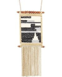 Lucky Brand - Beaded Fringe Pendant Necklace - Lyst