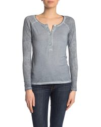 Lucky Brand - Printed Raglan Sleeve Henley T-shirt - Lyst