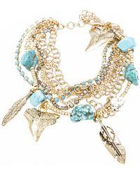 La Mer Collections - Folksy Howlite Charm Bracelet - Lyst