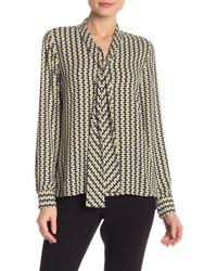 19f854f2787d3 BOSS - Rivasa Long Sleeve Front Tie Print Blouse - Lyst