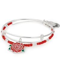 ALEX AND ANI - Red Rose Expandable Wire Bracelets - Set Of 2 - Lyst