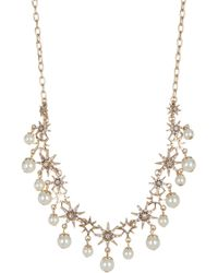 Jenny Packham - Prong Set Glass Crystal & Imitation Pearl Star Collar Necklace - Lyst