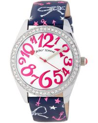 Betsey Johnson - Women's Nautical Crystal Leather Watch - Lyst