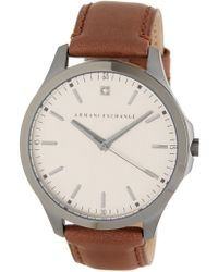 Armani Exchange - Men's Leather Strap Watch, 46mm - Lyst