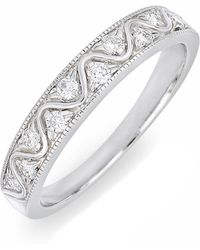 Bony Levy - 18k White Gold Channel Set Diamond Zigzag Ring - 0.22 Ctw - Lyst