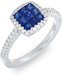 Bony Levy - 18k White Gold Invisibly Set Sapphire & Diamond Band Ring - 0.22 Ctw - Lyst