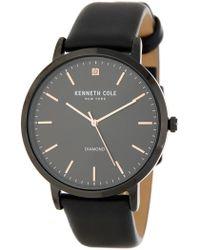 Kenneth Cole - Men's Black Case Diamond Leather Strap Watch - Lyst