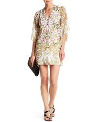 Analili - V-neck Lace-up Pattern Dress - Lyst