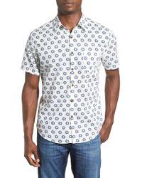 Life After Denim | 'shibori' Trim Fit Short Sleeve Print Woven Shirt | Lyst