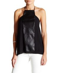 Analili - Halter Blouse With Faux Leather Detail - Lyst