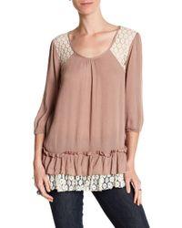 Areve - 3/4 Length Sleeve Ruffle Hem Shirt - Lyst
