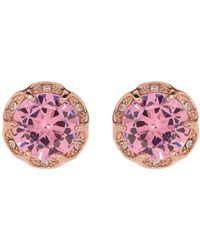 Betsey Johnson - Round Pink Cz Scalloped Halo Earrings - Lyst