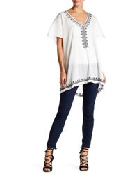 Roffe Accessories - V-neck Short Sleeve Poncho - Lyst