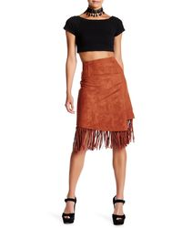 Blu Pepper - Faux Suede Fringe Trim Skirt - Lyst