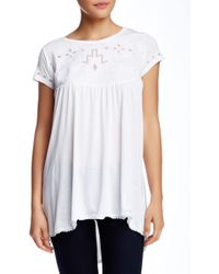 Casual Studio - Short Sleeve Cutout Embroidered Blouse - Lyst