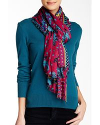 Blue Pacific - Oversized Vintage Rose Cashmere Blend Scarf - Lyst