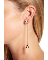 House of Harlow 1960 - Dangling Raw Crystal Chain Ear Jacket Earrings - Lyst