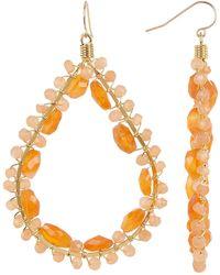 Native Gem - Yellow Gold Filled Canoodle Peach Moonstone & Carnelian Beaded Open Teardrop Earrings - Lyst