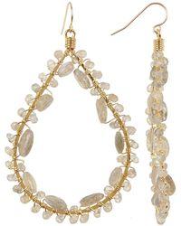 Native Gem - Yellow Gold Filled Canoodle Labradorite Beaded Open Teardrop Earrings - Lyst