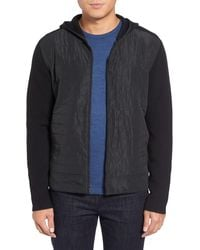 Calibrate - Mixed Media Zip Front Hoodie - Lyst