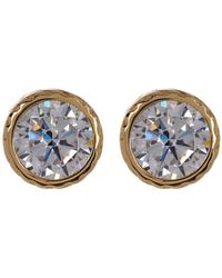 Cole Haan - Textured Round Cz Stud Earrings - Lyst