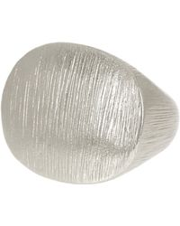 Cole Haan - Rhodium Plated Signet Ring - Size 7 - Lyst