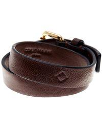 Cole Haan Brown Leather Double Wrap Bracelet Lyst