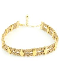 Vanessa Mooney - The Carole Yellow Gold Plated Braided Faux Suede Diamond-cut Stud Choker - Lyst