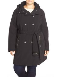 Calvin Klein - Belted Hooded Soft Shell Coat (plus Size) - Lyst