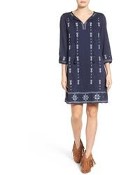 Caslon - Three-quarter Sleeve Embroidered Shift Dress (petite) - Lyst