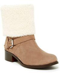 Delman - Minka Genuine Shearling Trimmed Boot - Lyst