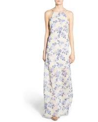 4si3nna - Floral Print Open Back Maxi Dress - Lyst