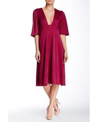 Everleigh - Elbow Length Sleeve Deep-v Dress - Lyst
