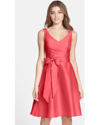 Alfred Sung - Satin Fit & Flare Dress - Lyst