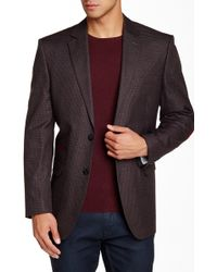 Perry Ellis - Grey & Wine Box Check Two Button Modern Fit Sport Coat - Lyst
