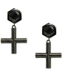 Nicole Miller - Drop Cross Bar Cz Stud Earrings - Lyst