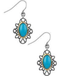 Sam Edelman - Oval Stone Filigree Drop Earrings - Lyst