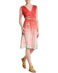 Fraiche By J - Surplice Neck Midi Dress - Lyst