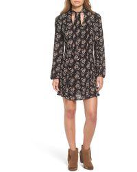 Way-in - Tie Neck Floral Print Dress - Lyst