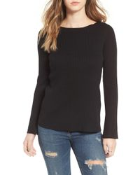Love By Design - Cross Back Rib Knit Pullover - Lyst