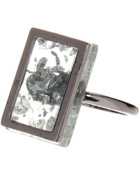 French Connection - Rectangle Frame Ring - Size 8 - Lyst