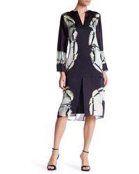 Halston - Long Sleeve Printed Silk Blend Caftan - Lyst