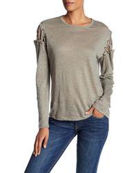 Dress Forum - Cold Shoulder Lace Up Linen Blouse - Lyst