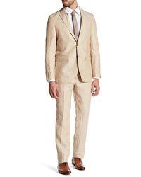 Strong Suit - Guiletta Tan Three Button Notched Lapel Linen Trim Fit Suit - Lyst