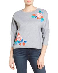 Halogen - Embroidered Knit Top (petite) - Lyst