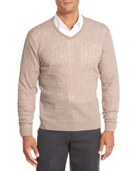 John W. Nordstrom - Cable Merino Wool V-neck Sweater - Lyst