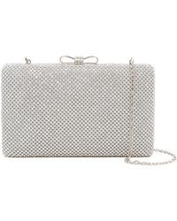 Cara - Silver Sequin Bow Clutch - Lyst