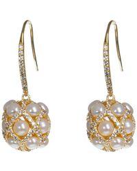 CZ by Kenneth Jay Lane | Cz & 4mm Freshwater Pearl Ball Earrings | Lyst