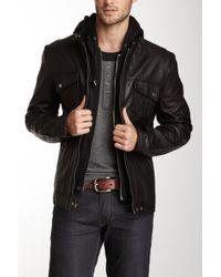 7 Diamonds - Los Angeles Hooded Genuine Leather Jacket - Lyst